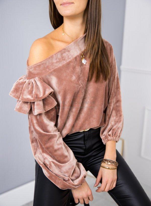 Bluza welurowa z falbanką Zoya różowa