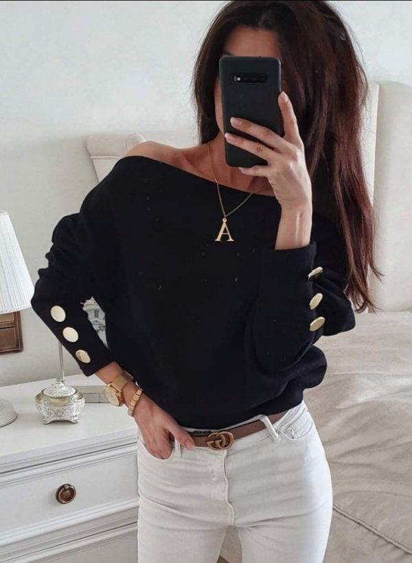 Bluzka Gold Buttons czarna