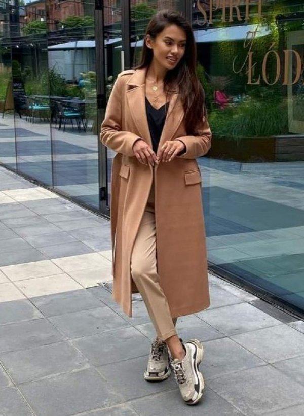 Płaszcz maxi wiązany Elegant camel