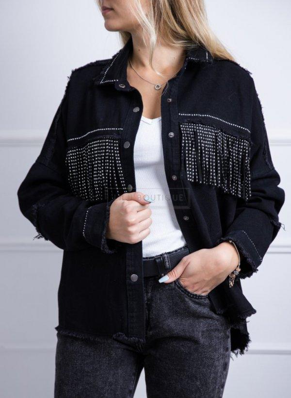 Kurtka koszulowa z cyrkoniami jak Zara czarna