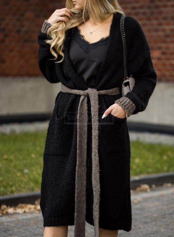 Długi sweter kardigan wiązany czarny