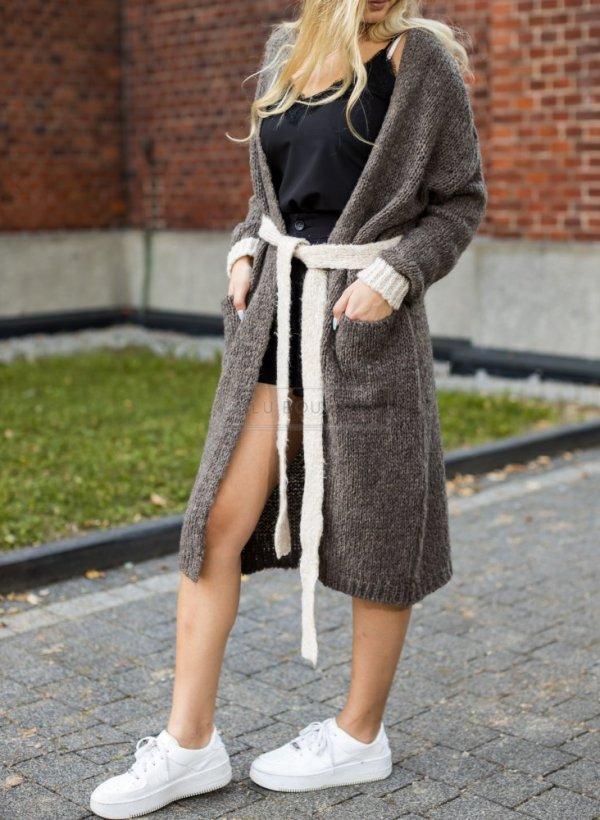 Długi sweter kardigan wiązany brąz