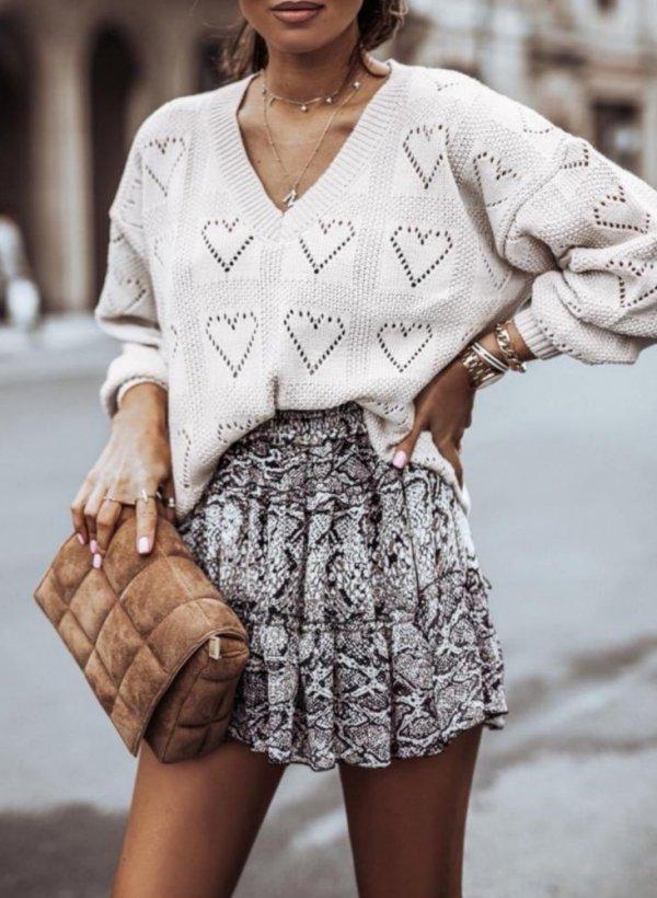 Sweter ażurkowy w serduszka Bolly beżowy