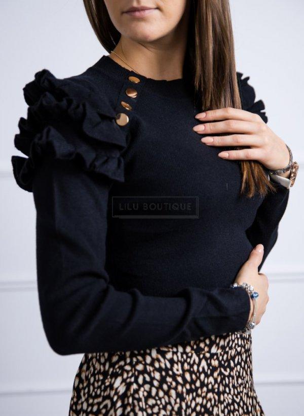Sweter z motylkowym rękawkiem i guziczkami czarny