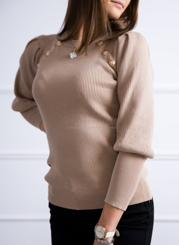 Sweterek z rękawkiem ściągaczem i złotymi guzikami beżowy
