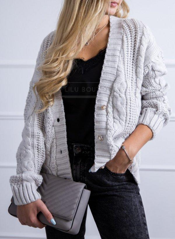 Sweter Evry jasny popiel na guziki