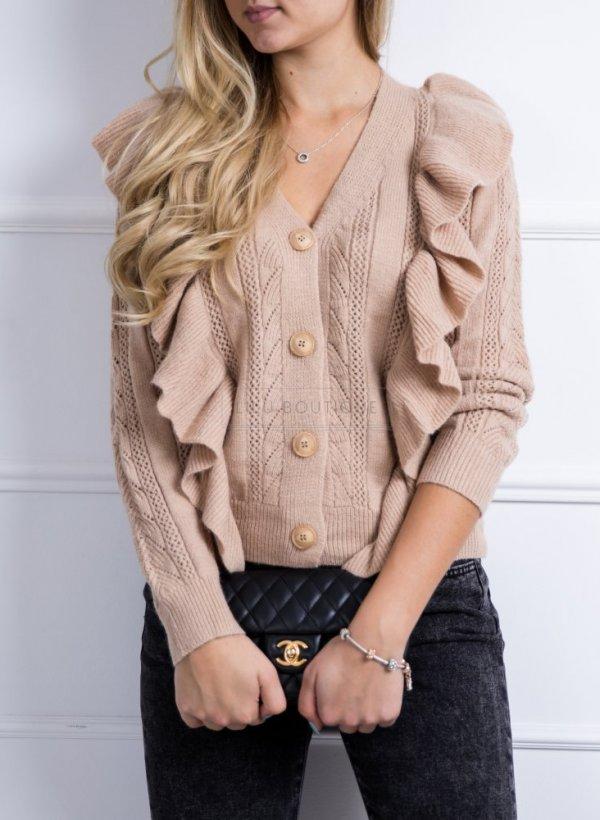 Sweter Laoni z falbankami beżowy