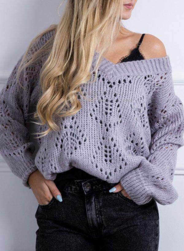 Sweter w serek ażurowy milutki Aguri violet