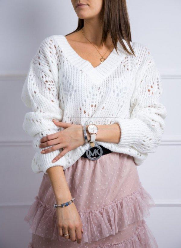 Sweter w serek ażurowy milutki Aguri krem