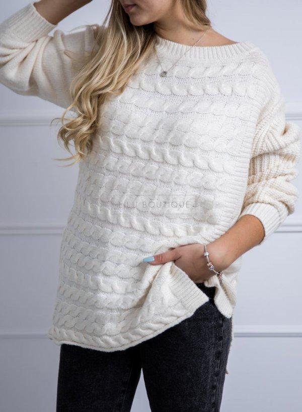 Sweter z warkoczem Cannes krem