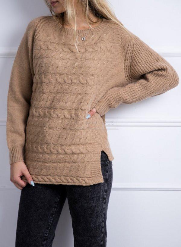 Sweter z warkoczem Cannes camel