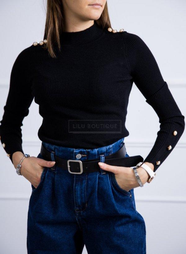 Sweter Chesnay z guziczkami pagony/rękaw czarny