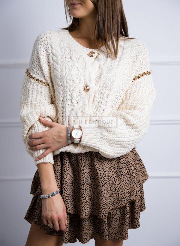 Sweter z łańcuszkami na rekawach ecru