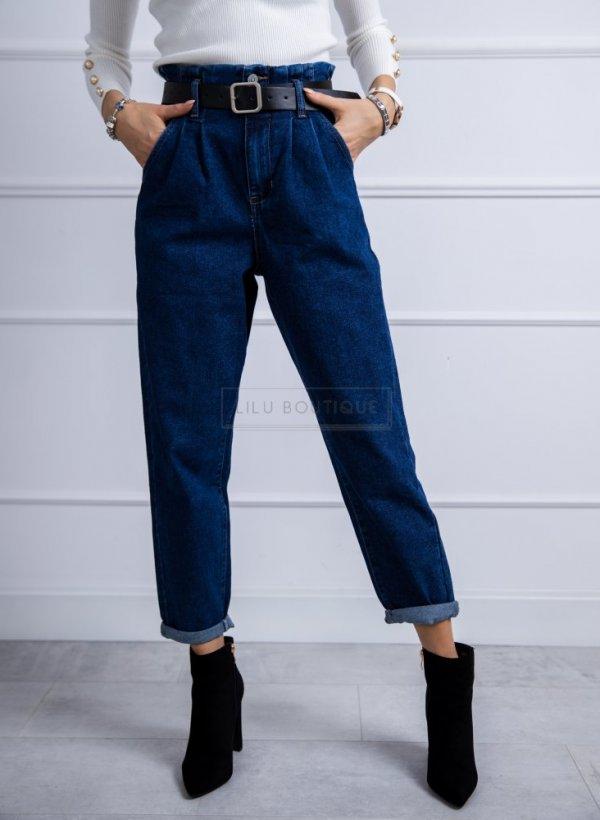 Spodnie jeansowe z wysokim stanem z paskiem Issy
