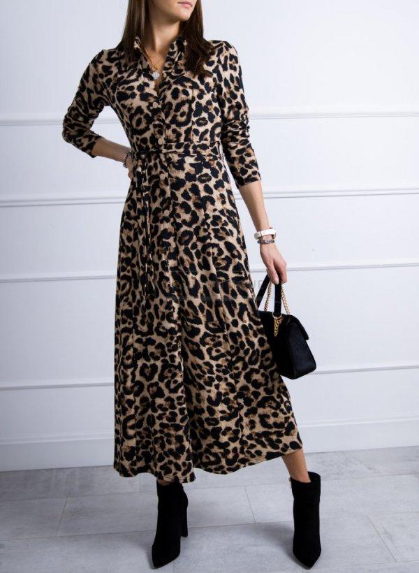 Sukienka w panterkę długa Wild