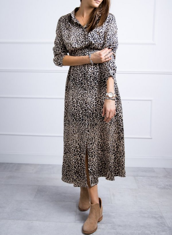 Sukienka w panterkę z paskiem Seine
