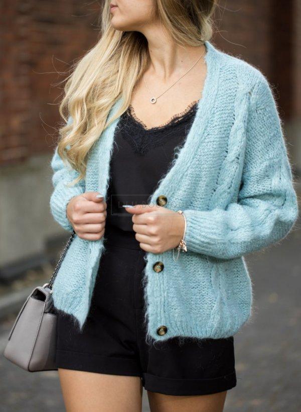 Sweter krótki na guziki aqua
