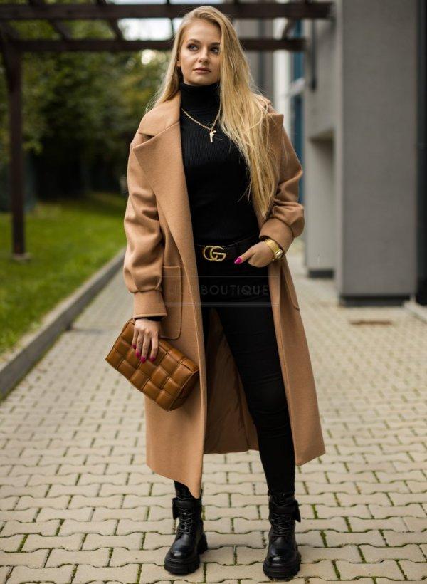 Płaszcz Elegant II z paskiem camel