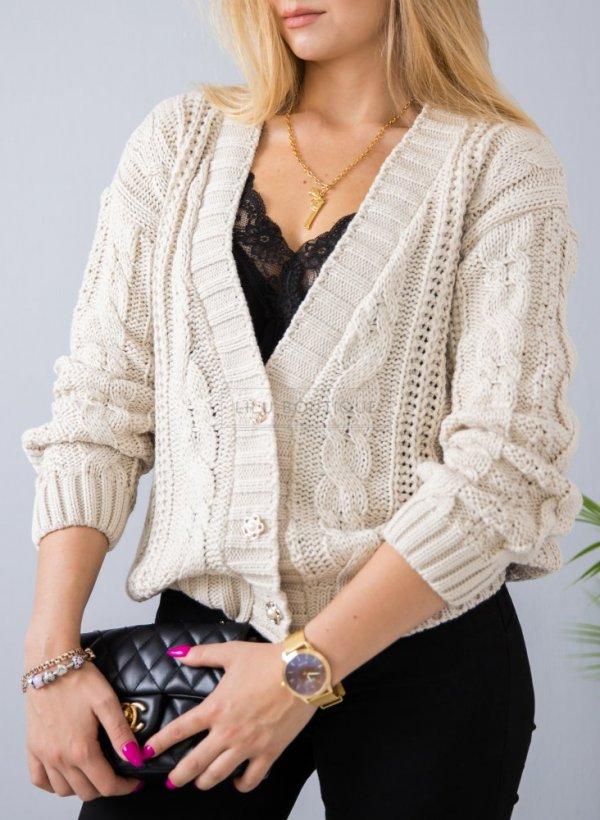 Sweter Evry jasny beż na guziki