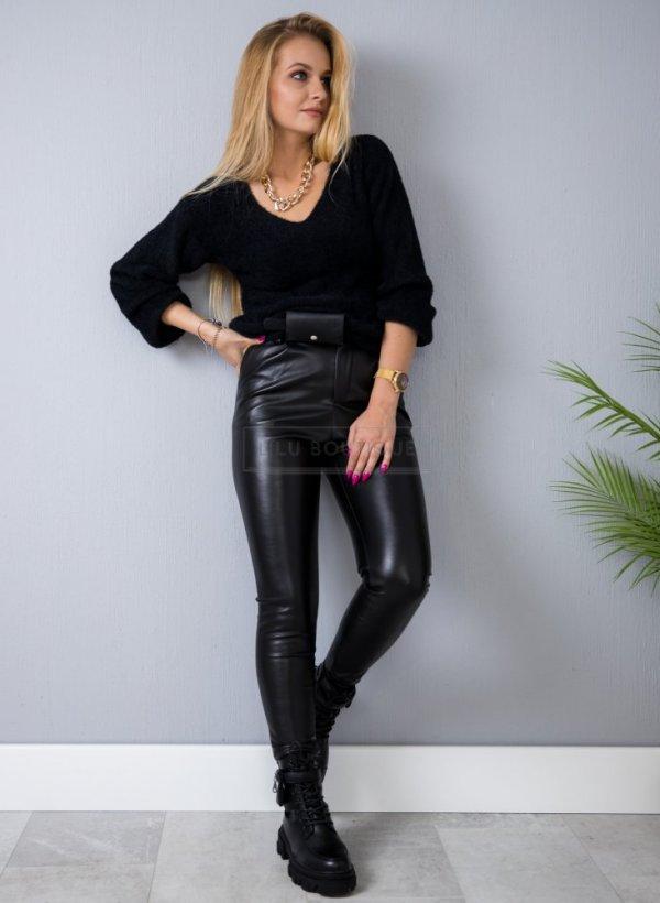 Spodnie eco skórka Noir czarne z paskiem