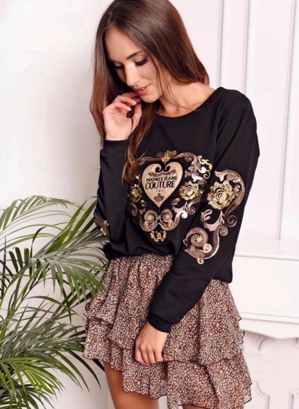 Bluza z ornamentem Couture czarna