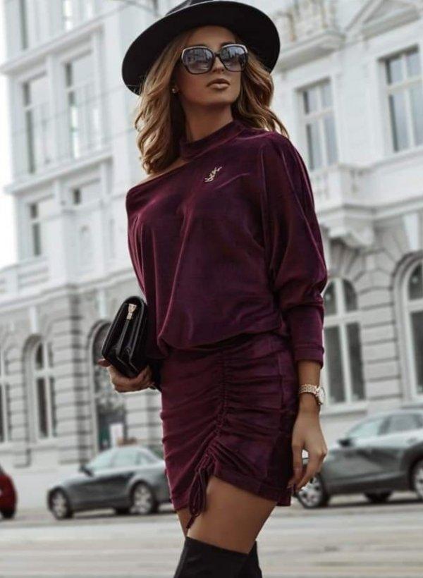 Sukienka aksamit asymetryczna Avola bordo