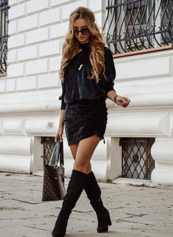 Sukienka aksamit asymetryczna Avola czarna