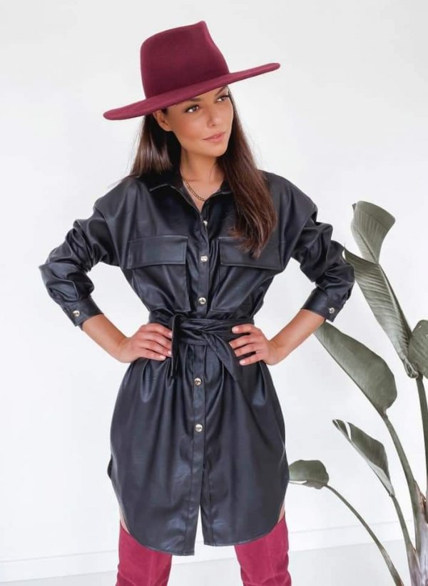 Sukienka z eco skórki Ivrea czarna