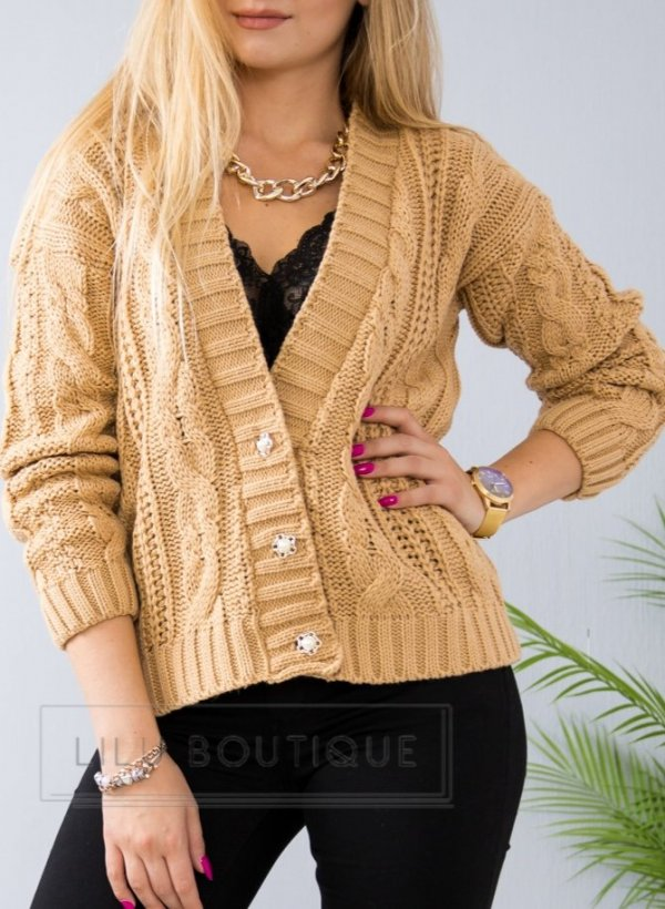 Sweter Evry camel na guziki