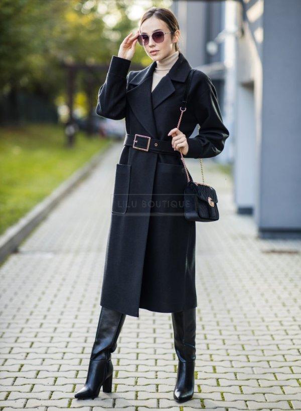 Płaszcz Elegant II z paskiem czarny