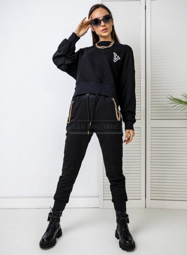 Spodnie dresowe z łańcuszkami Fury czarne