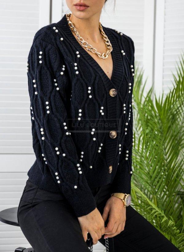 Sweter rozpinany z perłami Dalmine czarny