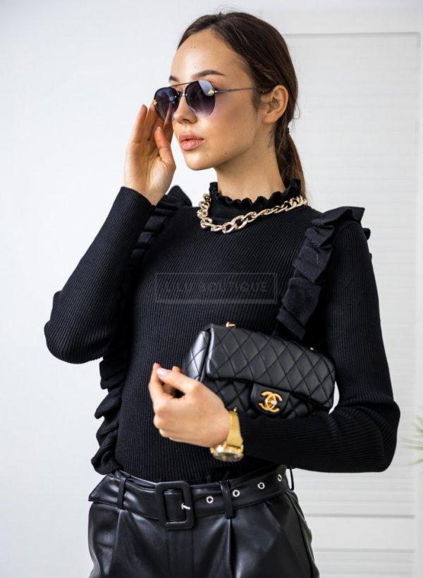 Sweterek z falbankami Como czarny