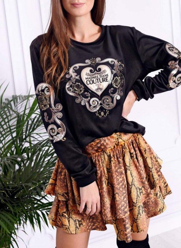 Bluza z ornamentem Couture welur czarna