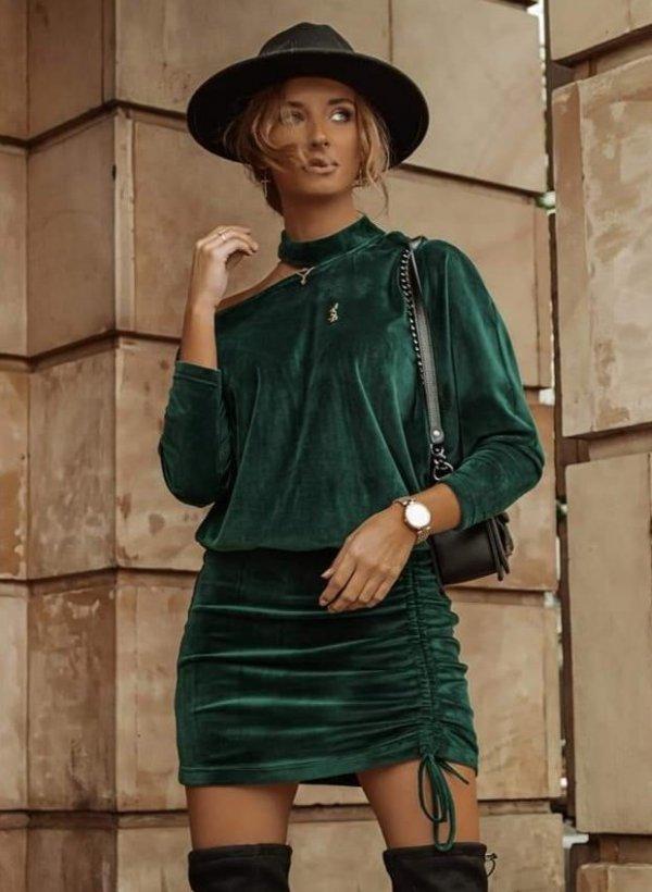 Sukienka aksamit asymetryczna Avola zielona