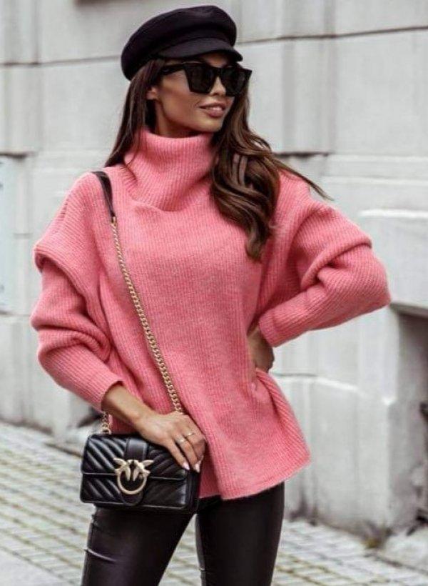 Sweter z luźnym golfem Vessa koral/malina