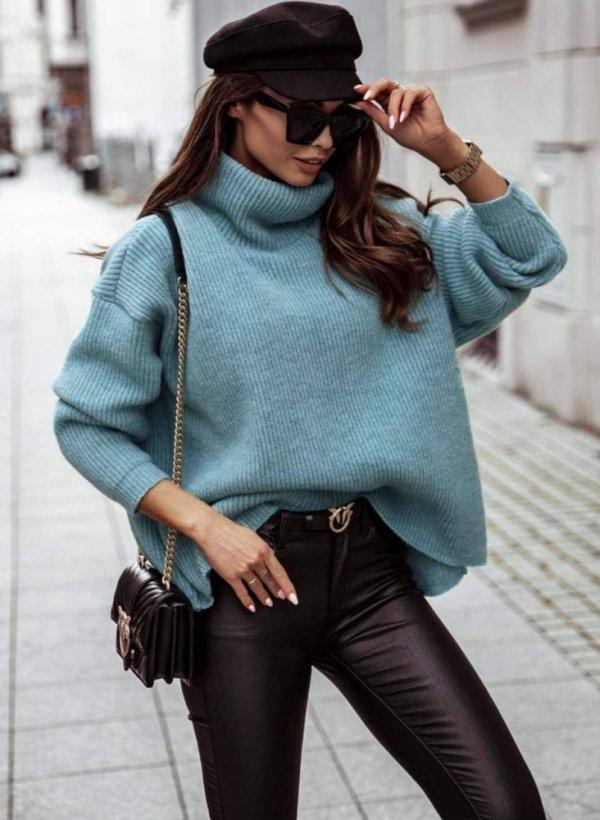 Sweter z luźnym golfem Vessa aquamarine