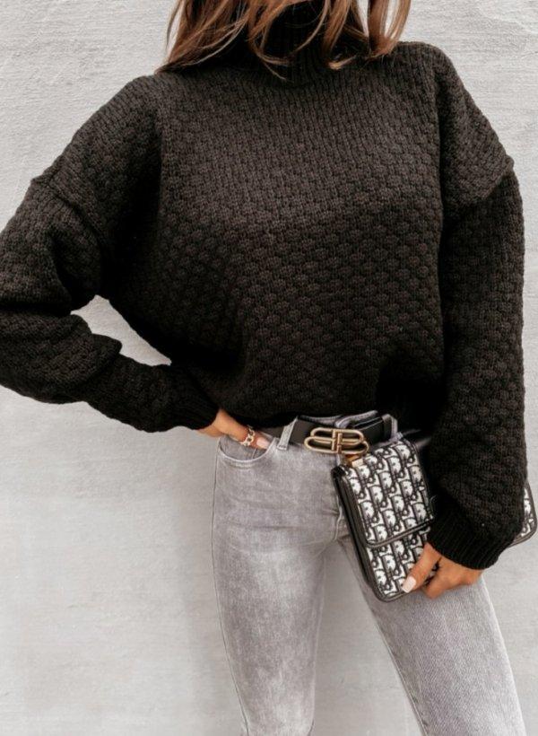 Sweter oversizowy Warm czarny