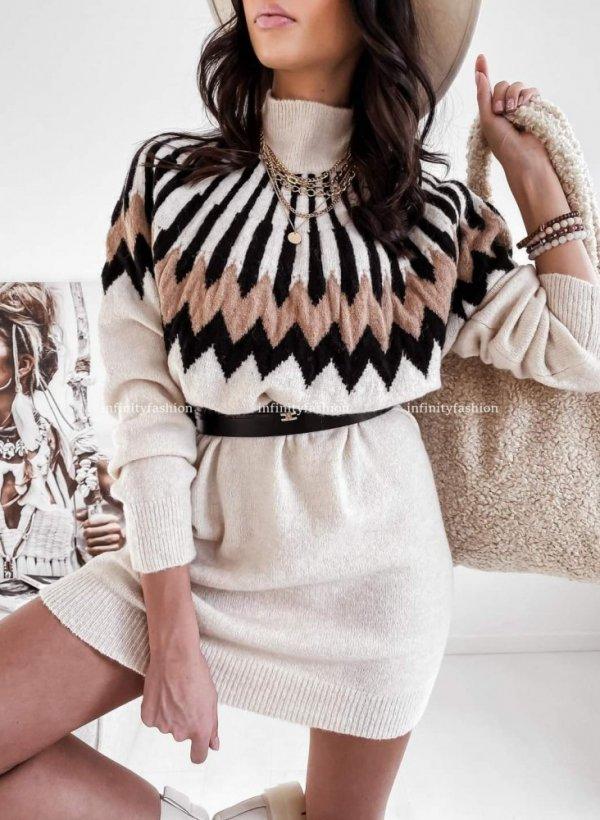 Tunika sukienka sweterkowa Cortina wzory