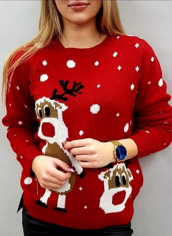 Sweter święteczny Reniferki czerwony
