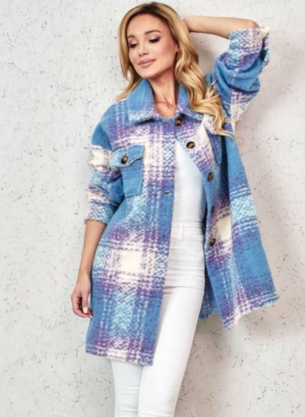 Płaszcz/koszula w kratkę Dax blue/violet