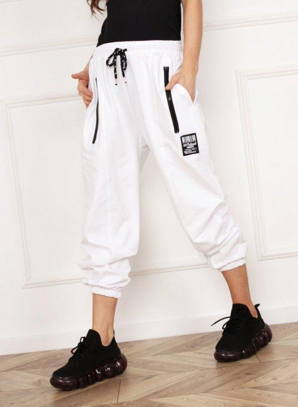 Spodnie dresowe z zamkami Run białe