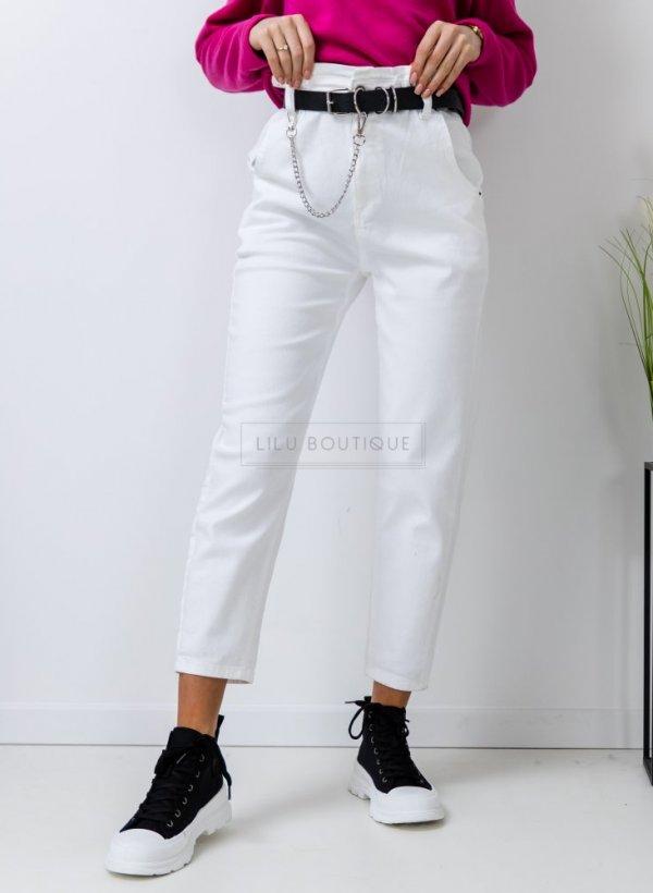 Spodnie jeansowe Surr retro z wysokim stanem białe
