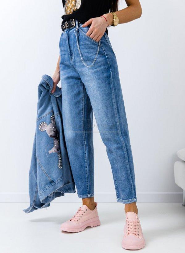 Spodnie jeansowe Slouchy z łańcuszkiem light blue