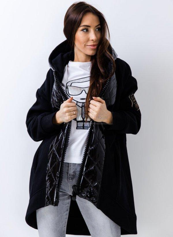 Kurtka łączone materiały pikowana Lora black