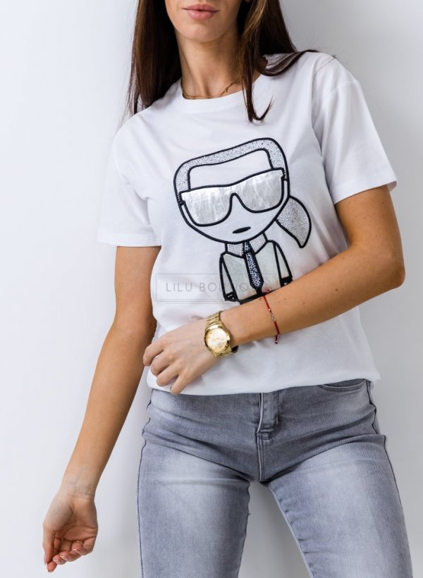 T-shirt Karl biały