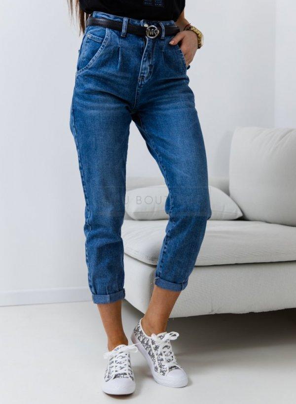 Spodnie jeansowe Mum Fit z zaszewkami blue