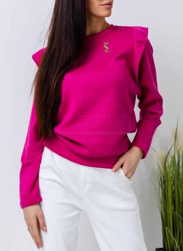 Bluzka sweterkowa z falbanką Roshes fuksja