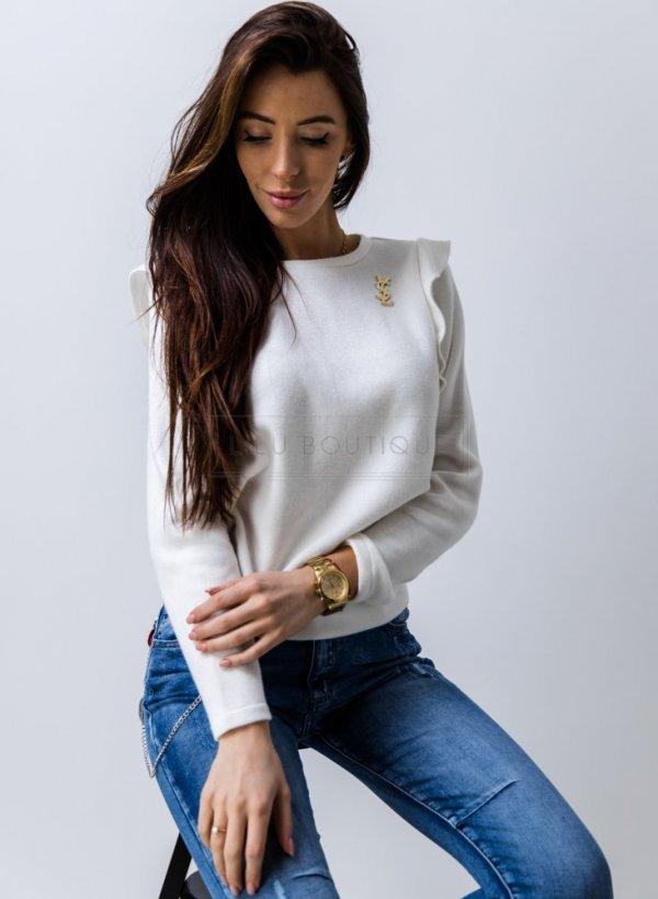 Bluzka sweterkowa z falbanką Roses krem