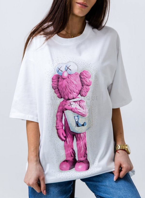 T-shirt oversize Poxe white/pink